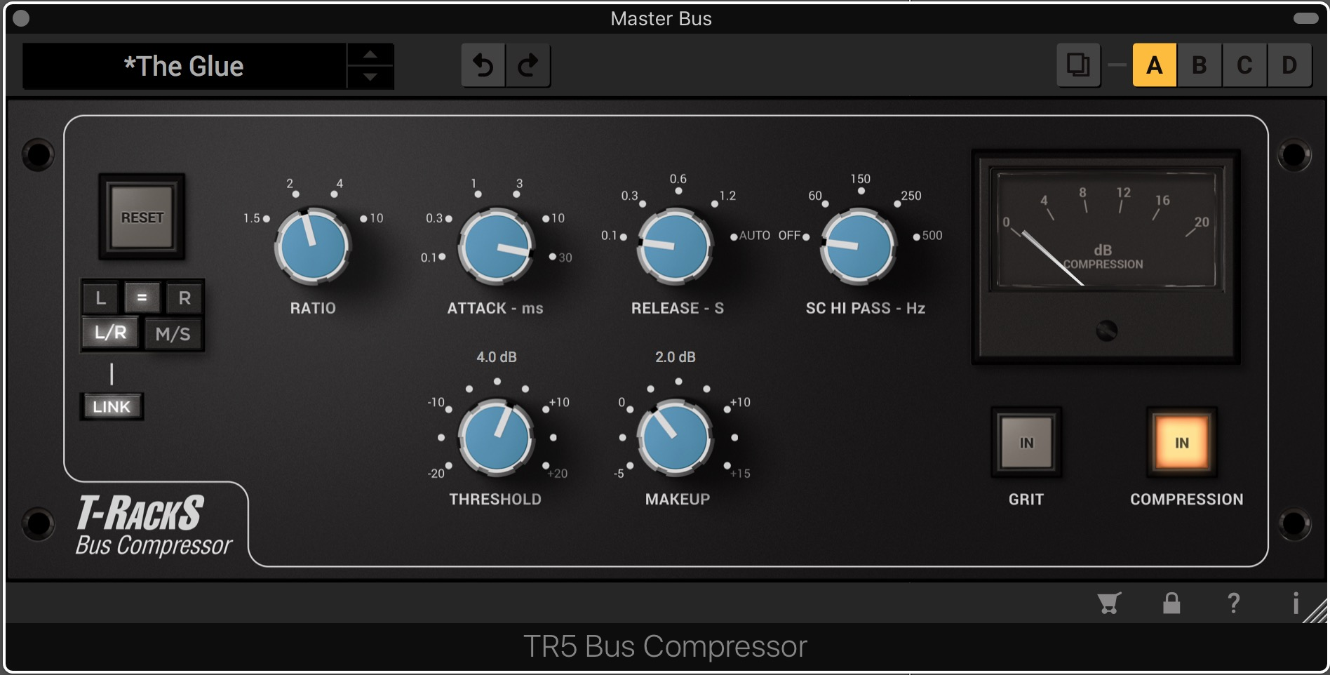 The T-Racks Bus Compressor from IK Multimedia, set with a slow attack and quick release for gentle master bus compression.